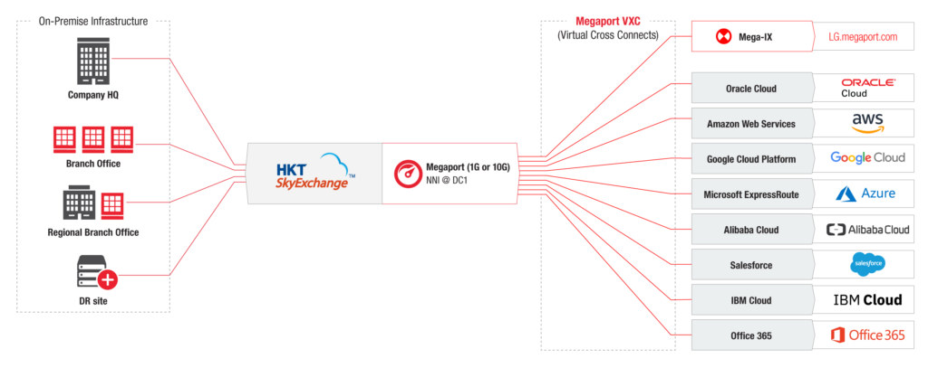 Infrastructure Diagram of HKT and Megaport for multicloud networking