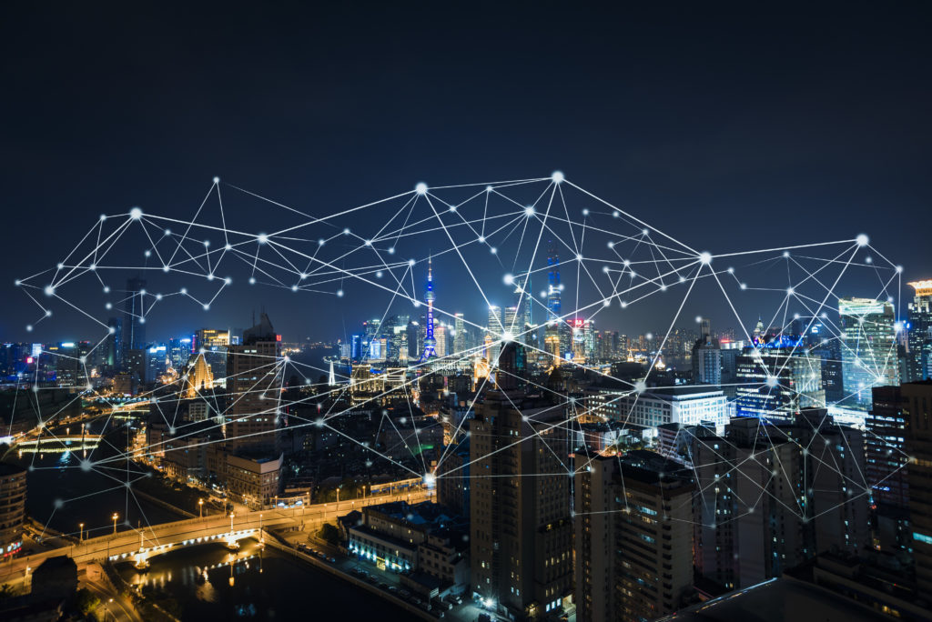 connected city at night